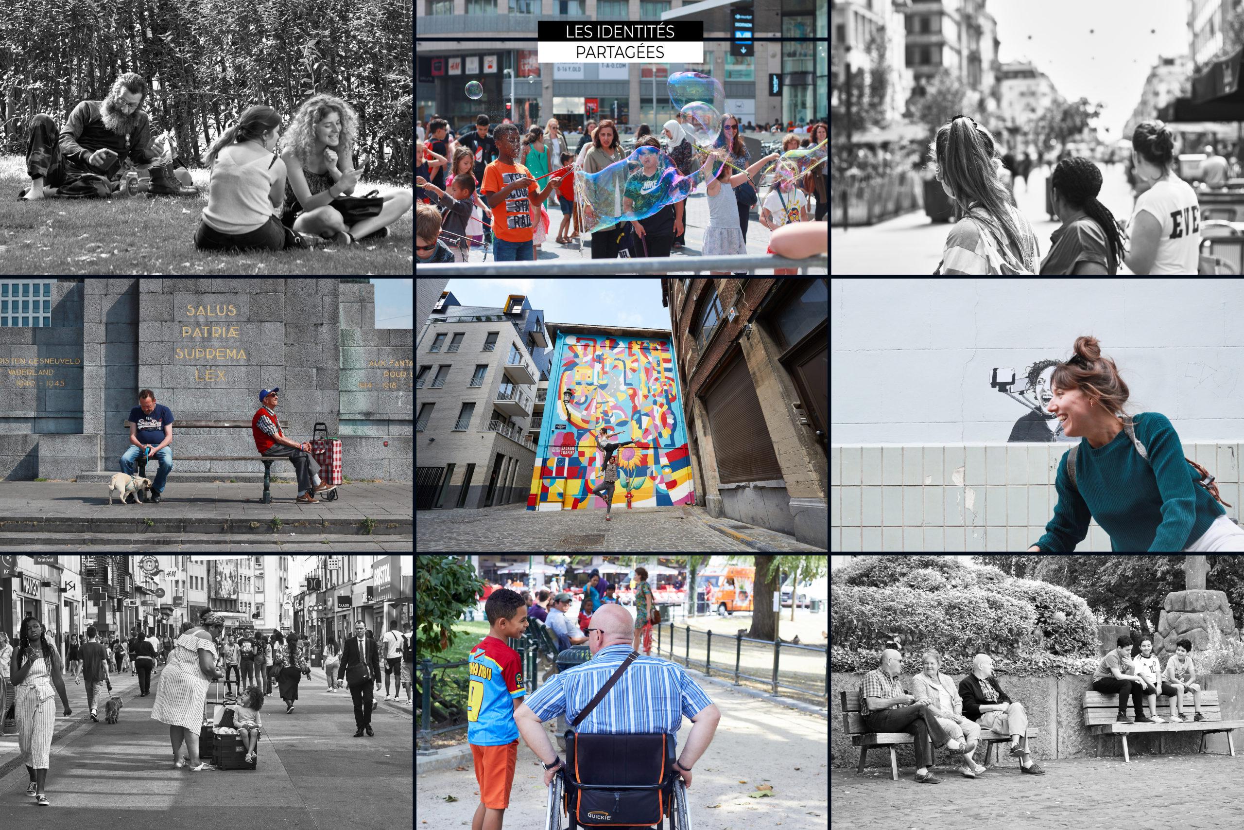 Photomontage de photos en paysage de personnes se promenant dans Bruxelles