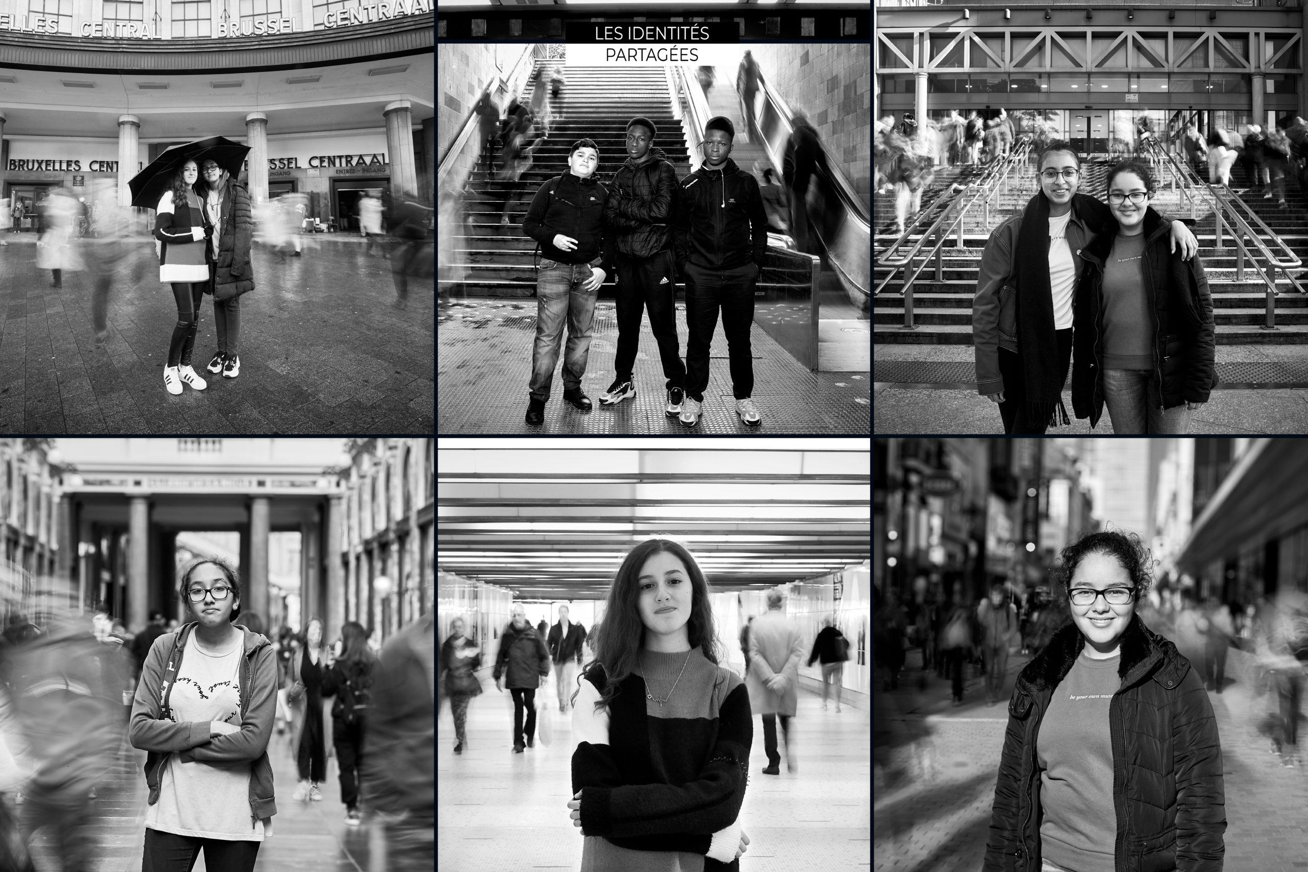 Photomontage noir et blanc de jeunes adolescents dans différents lieux de Bruxelles