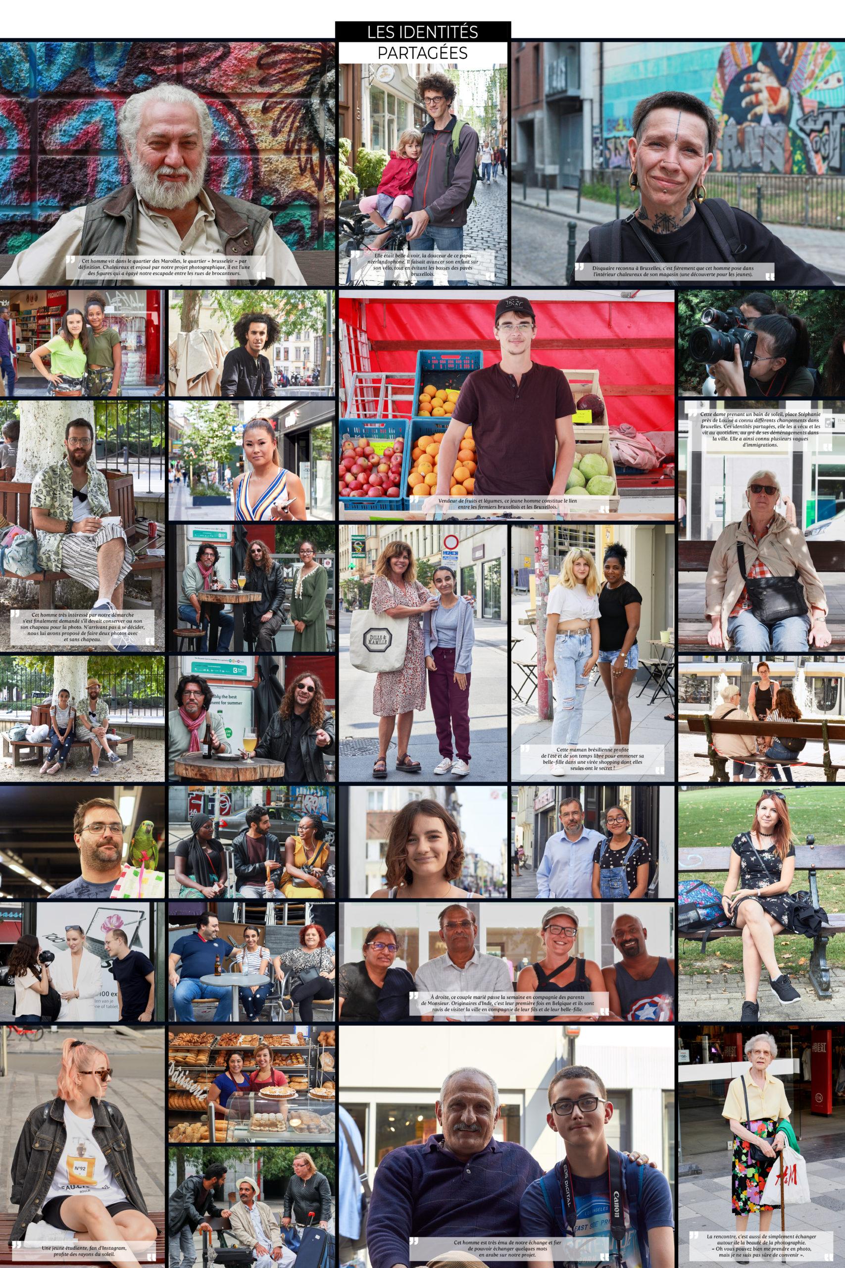 Photomontage de portraits de personnes vivant à Bruxelles