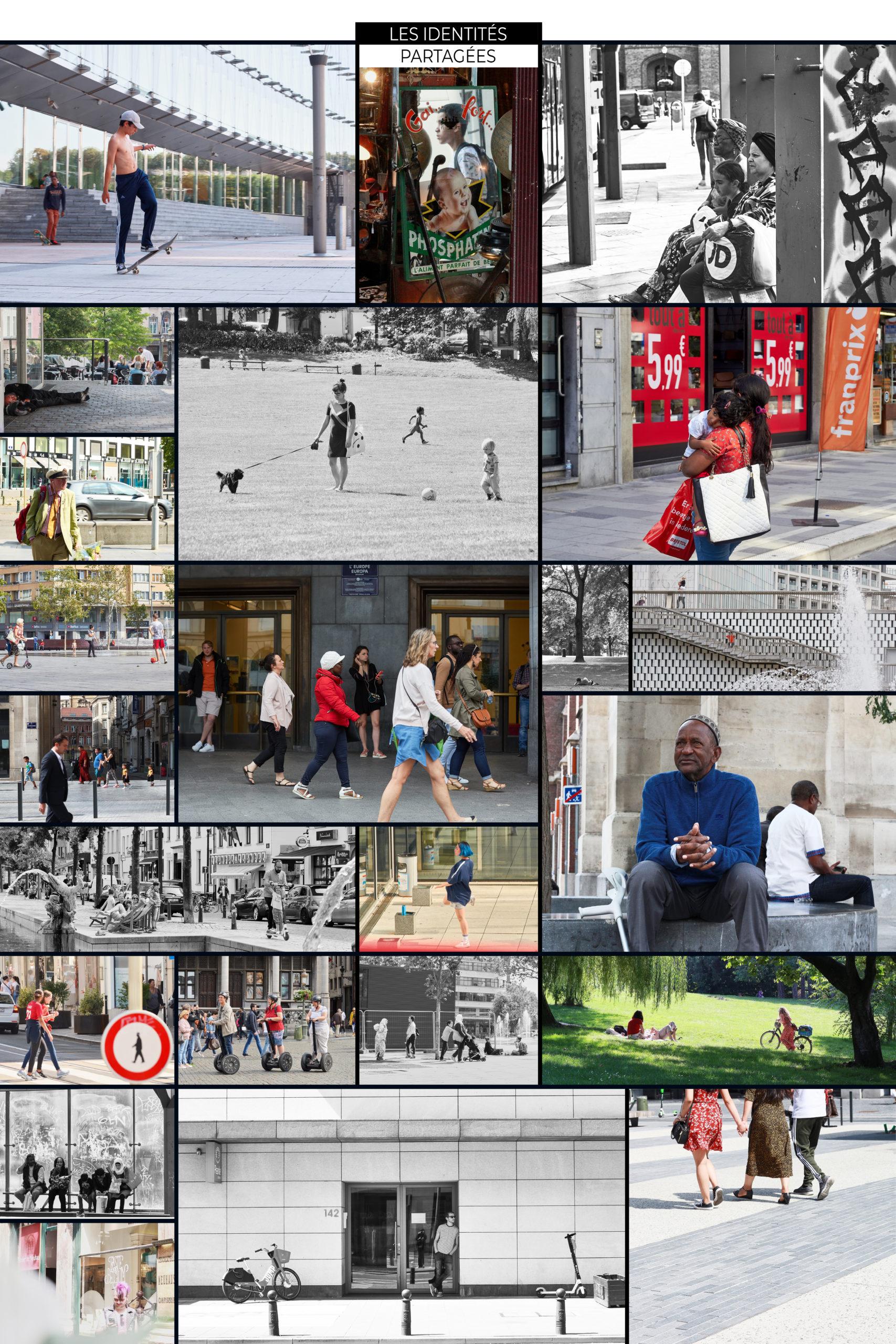 Photomontage de personnes se promenant dans le centre ville de Bruxelles