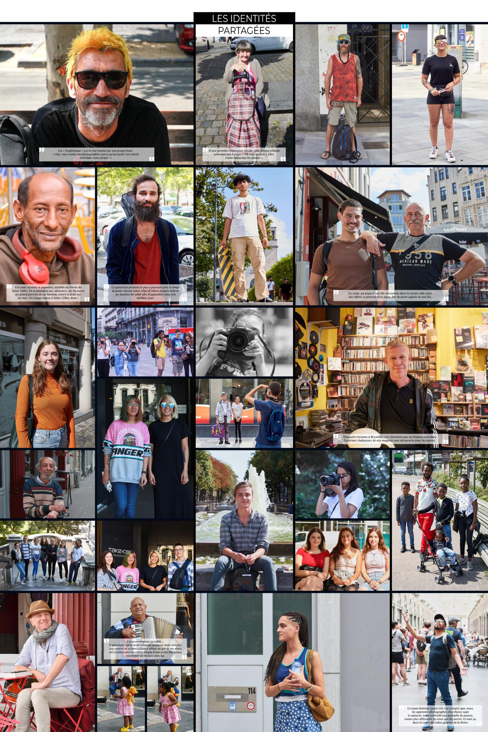Photomontage de portraits de personnes vivant dans le centre-ville de Bruxelles