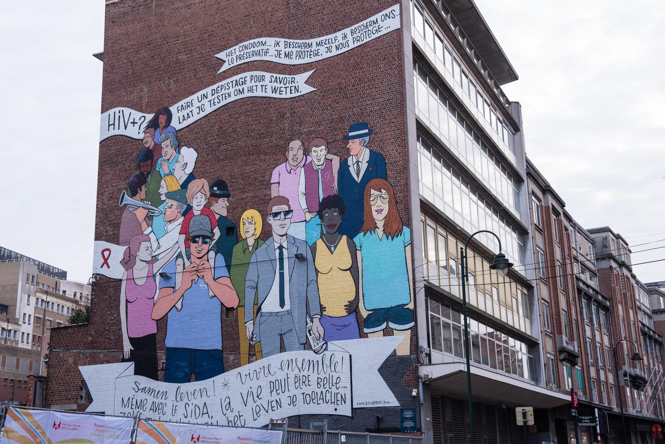 Fresque de l'hopital Saint-Pierre Entr'aide des Marolles asbl 1000 Bruxelles