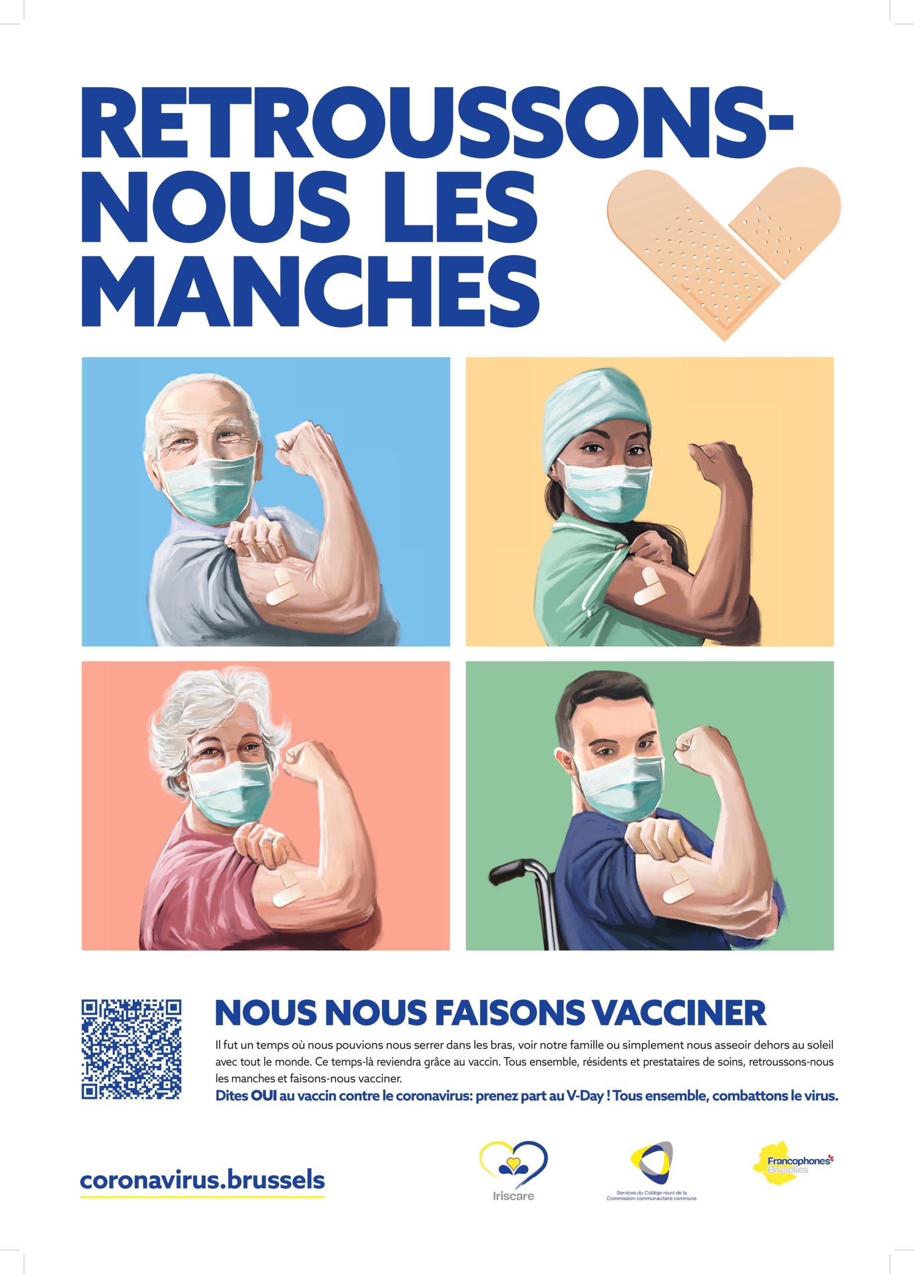 Retroussons-nous les manches - Nous nous faisons vacciner - Il fut un temps où nous pouvions nous serrer dans les bras, voir notre famille ou simplement nous asseoir dehors au soleil avec tout le monde. Ce temps-là reviendra grâce au vaccin. Tous ensemble, résidents et prestataires de soins, retroussons-nous les manches et faisons-nous vacciner. Dites OUI au vaccin contre le coronavirus: prenez part au V-Day ! Tous ensemble, combattons le virus.